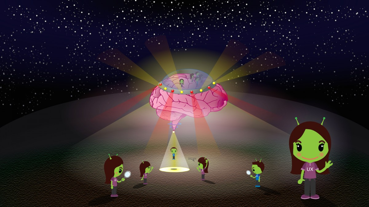 Cartoon of a brain-spaceship with UX people shown as green aliens