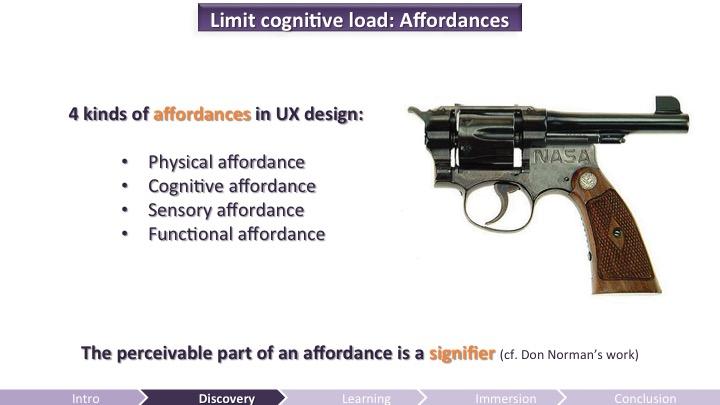 Limit Cognitive Load: Affordances