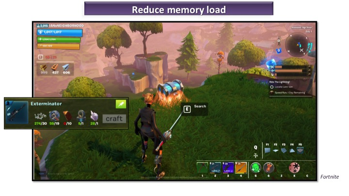 The HUD helps reduce the memory load