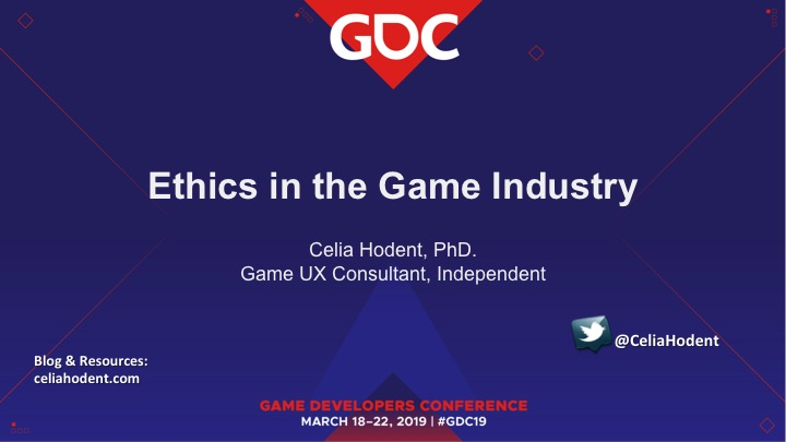 "GDC Talk Slide: ""Ethics in the Game Industry"""